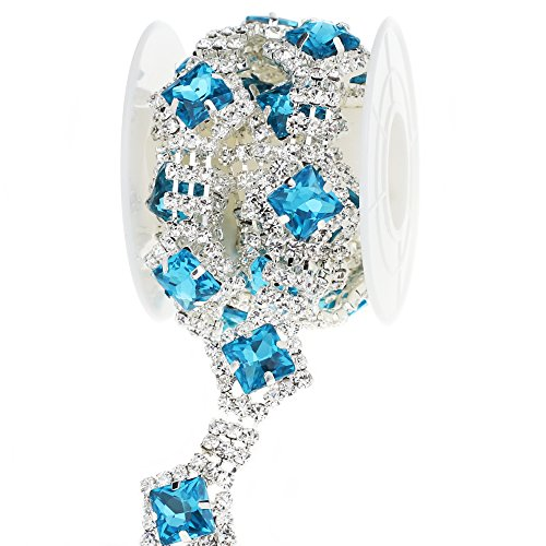 L-Queen 1 Yard Ocean Blue Crystal Rhinestone Trim Handmade Rhinestone Applique DIY Design for Wedding Bridal Home Decorations