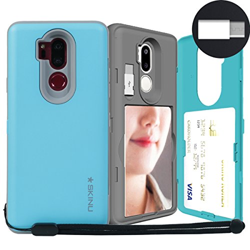 LG G7 ThinQ, SKINU [LG G7 Wallet Strap] G7 Charger Dual Layer Hidden Credit Holder ID Slot Card Case with Wrist Strap Inner USB Type C Adapter and Mirror for LG G7 ThinQ G7+ ThinQ (2018) - Teal