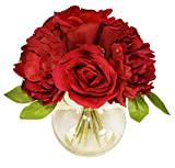 V-Max Floral Decor 11'' Velvet Rose/Peony with Glass Vase Silk Arrangement