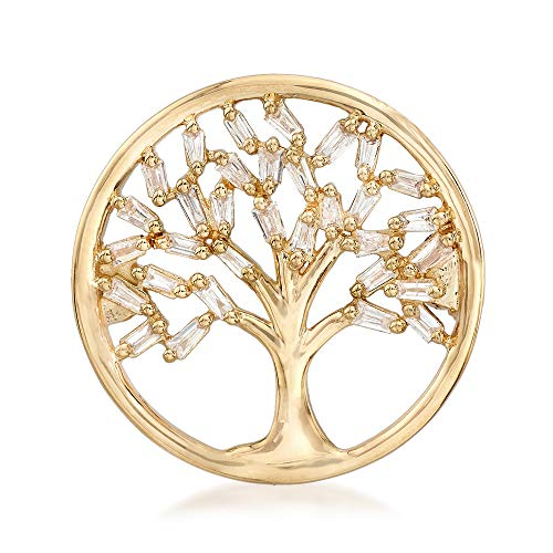 - Ross-Simons 0.22 ct. t.w. Baguette Diamond Tree Of Life Circle Pin in 14kt Yellow Gold