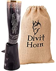 Divit Genuine Viking Drinking Horn with Iron Stand   Authentic Medieval Beer Drinking Horn   Brass Adornments & Burlap Gift Sack Included   16 oz Capacity   The Original. (Original, Polished)