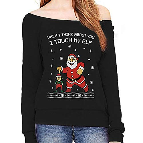 Clearance Sales! Caopixx Christmas Clothes for Women Reindeer Snowman Tree Snowflakes Sweatshirts Sweater -