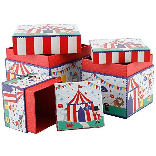 Set Of 3 Circus Print Cool Storage Boxes