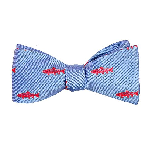 Fish Tie Blue - SummerTies Trout Bow Tie - Light Blue, Woven Silk, Adult Tie Yourself Bow Tie