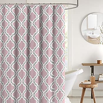 Square Geometric Sheer Fabric Shower Curtain Faux Suede Panels Dusty Rose Silver