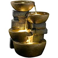 zen tiered pots fountain with led light - Fountain For Home Decoration