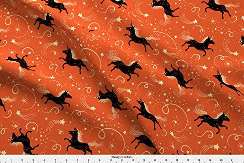 Spoonflower Unicorn Fabric - Vintage Retro Kitsch Magic Horse Unicorn Fantasy Halloween Horse Vintage Style Kitsch by Johannaparkerdesign Printed on Fleece Fabric by The Yard