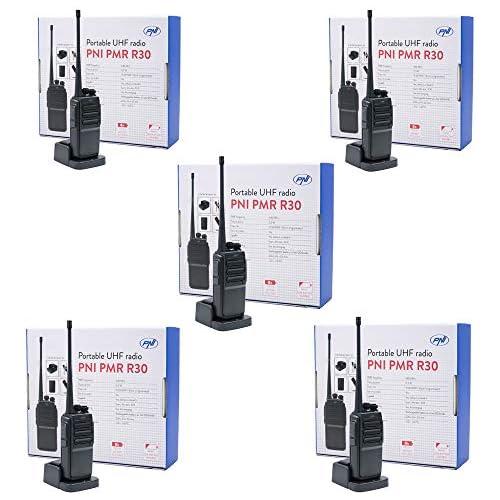 chollos oferta descuentos barato Kit 5 PMR Radio UHF portátil PNI PMR R30 acumuladores Cargadores y Auriculares incluidos