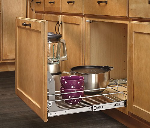 090713048475 - Rev-A-Shelf - 5WB1-1522-CR - 15 in. W x 22 in. D Base Cabinet Pull-Out Chrome Wire Basket carousel main 2