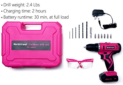Nordstrand Pink Cordless Drill Set - Electric Screwdriver Power Driver Kit for Women - 12V Rechargeable Li-Ion Battery… 2