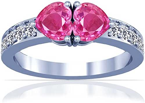 Platinum Heart Cut Pink Sapphire Ring With Sidestones