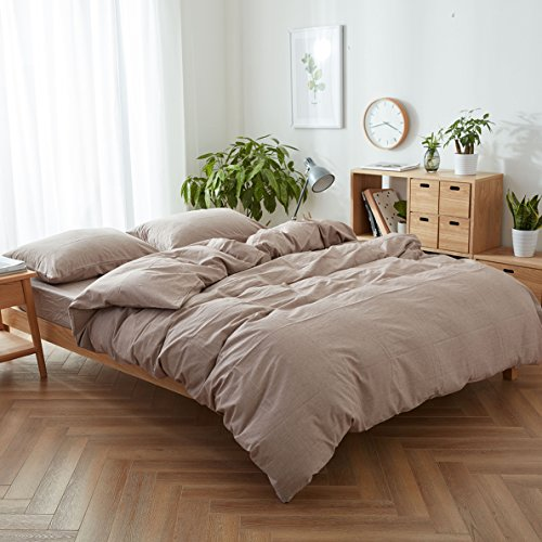 Mauve Linen - FACE TWO FACE 3-piece Duvet Cover Queen,100% Washed Cotton Duvet Cover,Ultra Soft and Easy Care,Simple Style Bedding Set (QUEEN, Pale mauve)