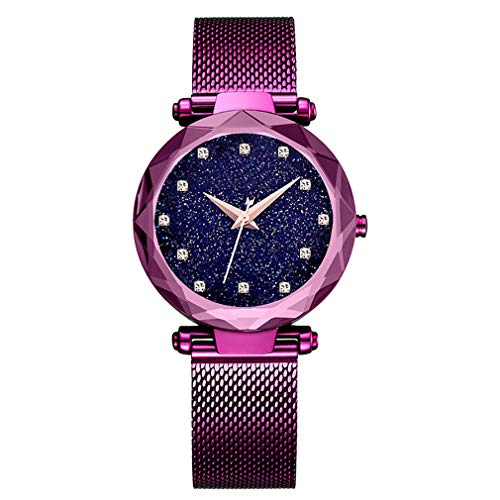 Ladies Watch New Fashion Star Watch Waterproof Casual Purple Bracelet Watches Stainless Steel Mesh Belt with Unique Magnet Lock, no Buckle (Diamond - Pueple)