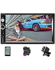 """Car Stereo Double Din Radio,7"""" Touchscreen in Dash Bluetooth MP5 Audio 1080P Video Player FM Radio + Remote Control + Support TF/USB/AUX-in/Rear View Camera/Steering Wheel"""