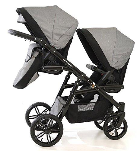 Carro doble (gemelar) niños diferentes edades. 2 sillas + 1 capazo + accesorios. BBtwin. Gris: Amazon.es: Bebé