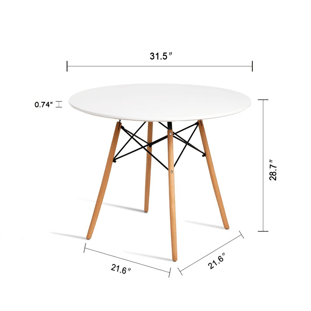 b85589cbd96e HYhome Kitchen Dining Table Round Coffee Table Modern Leisure Wood Tea Table  Office Conference Pedestal Desk with Natural Wooden Legs and MDF top (White)  ...