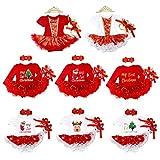 FYMNSI Baby Girls 1st Christmas Tutu Outfit Romper Dress Headband Shoes Leggings