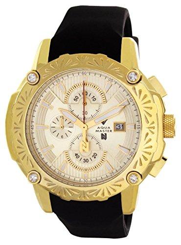 Aqua Master El Russo Nicky Jam Chrono Gold-Tone Dial Diamond Men's Watch (Diamond Chrono Watch)