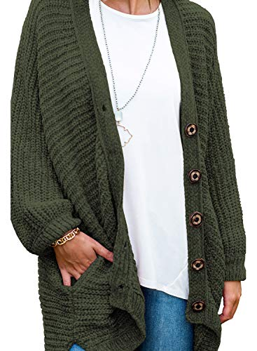 Acrylic Chenille Sweater - Women's Long Sleeve Button Down Oversized Open Front Cardigans Loose Chenille Knit Sweater Coat Casual Outwear Pocket Dark Green M 8 10