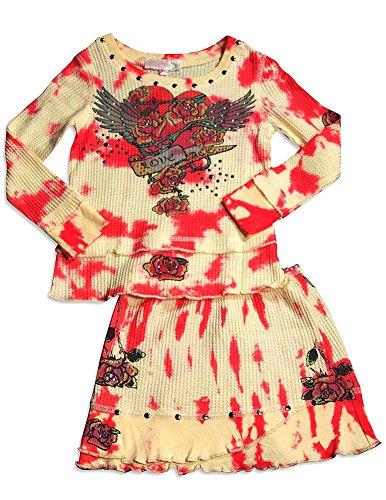 Tie Dye Waffle - Baby Sara - Baby Girls Long Sleeve Waffle Weave Tie Dye Skirt Set, Yellow, Red 30134-12Months