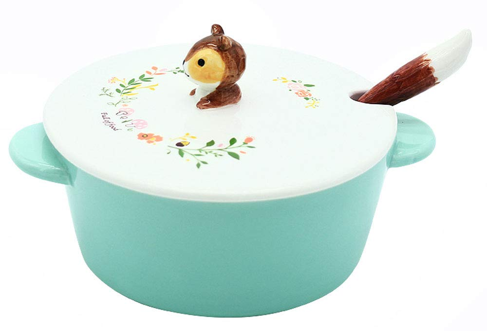 Ceramic 3D Cartoon Animal Noodle Bowl With Lid and Spoon-Fox/Squirrel/Raccoon