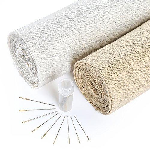 Caydo 2 Pieces 2 Colors Natural Linen Fabric and 30 Pieces Needle for Garment Craft, 13 by 63 Inch Needlework Fabric Cloth
