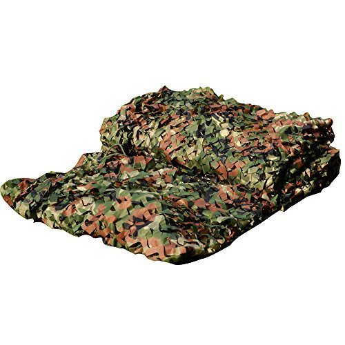 LOOGU Camouflage Netting, Camo Net Hunting Blind Great For Sunshade Camping Shooting Hunting etc. (150D Polyester, 6.5x10ft) (Netting Leaf)