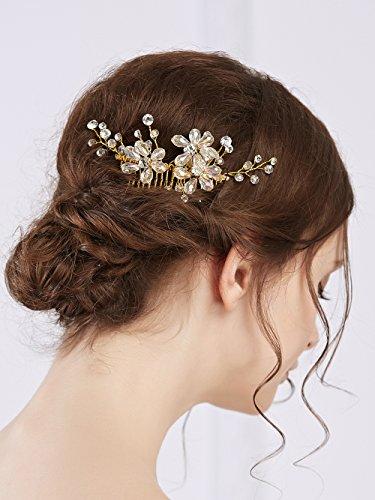 Missgrace Crystal Bridal Hair Comb Wedding Hair Accessories-Rhinestone Jewelry Headdress