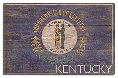 Lantern Press Rustic Kentucky State Flag (Wood Wall Sign, Wall Decor Ready to Hang)