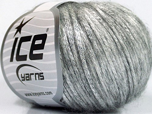 Rock Star, Silver Gray, Metallic Shine, Soft Nylon Merino Wool Acrylic Blend Yarn, 50 Gram