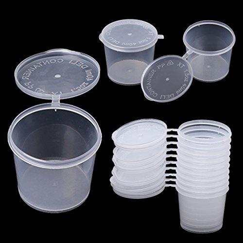 Tebatu Plastic Disposable Sauce Cup Clear Salad Dressing Food Storage Containers + Lids by Tebatu (Image #6)