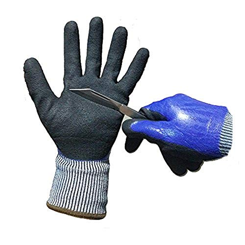 ATM A 5 Level Cut-Resistant Waterproof Safety Protect Hand Gloves Nitrile and Latex Dual Palm Coated for Gargen work, Industrial production, Glasses handling, Very Durable; 1Pair. (Large)