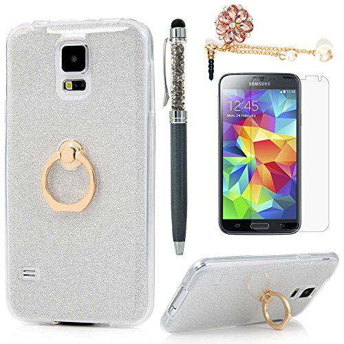 Price comparison product image Badalink Galaxy S5 Case 360 Degree Rotating Ring Holder Kickstand Shockproof Drop Protection TPU Flexible Bumper with Detachable Shiny Shell Slim-Fit Protective Cover for Samsung Galaxy S5 - White