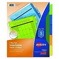Avery Big Tab Insertable Plastic Dividers, 5 Multicolor Tabs, 1 Set (11900)