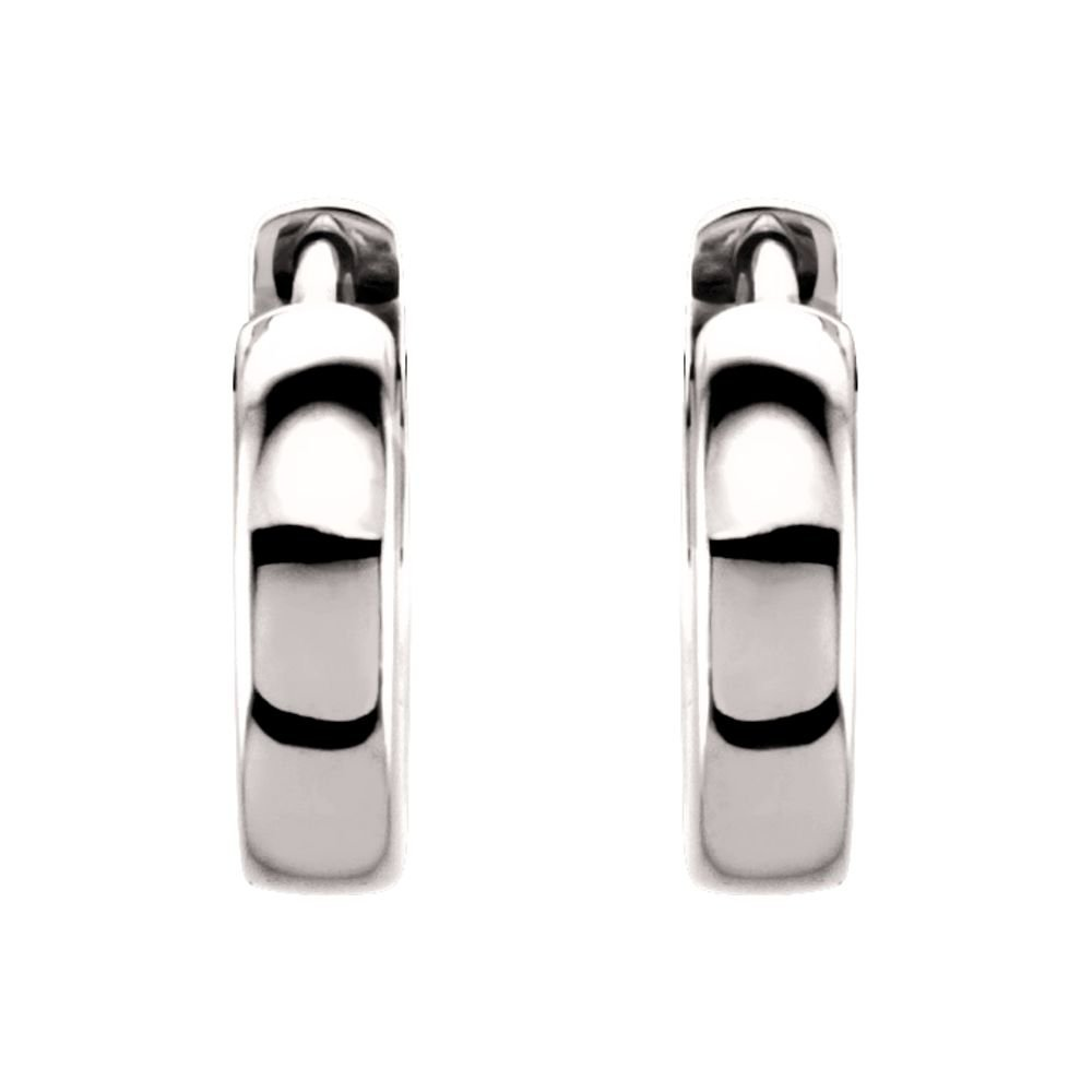 Platinum 11.5mm Hinged Hoop Earrings