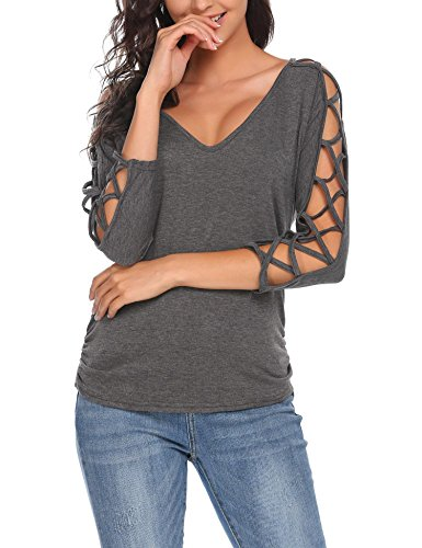 Sleeve 1/2 Top (ELESOL Women's Sexy V Neck Off Shoulder Hollow 1/2 Sleeves Casual Blouse Tops Dark Grey/S)