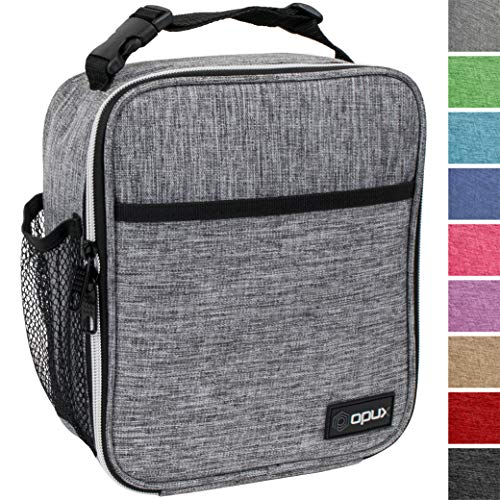 OPUX Premium Insulated Lunch Box | Soft Leakproof School Lunch Bag for Kids, Boys, Girls | Durable Reusable Work Lunch Pail Cooler for Adult Men, Women, Office - Fits 6 Cans (Light Grey) ()
