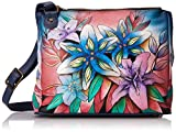 Anuschka Hand Painted Designer Leather Handbag – Christmas gifts for women- Multi Compartment Leather Tote with adjustable strap (Luscious Lilies Denim 525 LLY-D)