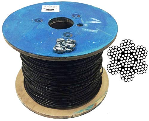 Black Vinyl Coated Steel Aircraft Cable 1/8