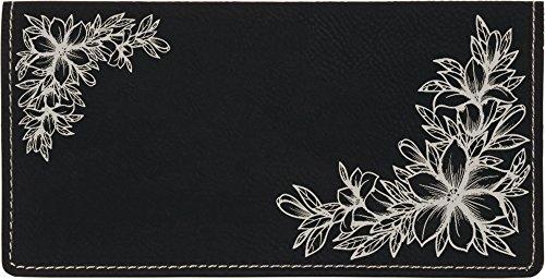 - Floral Filigree Laser Engraved Leatherette Checkbook Cover