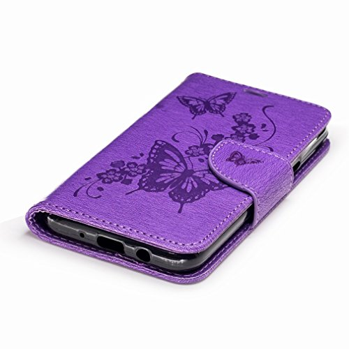 Cover Slim Flower Case Leather Credit J3 Slot Purple Skin Pu Premium Wallet Shell Protective Stand Flap Case Shell Yiizy Cover Housing Butterfly Emerges Case Bumper Cards Casemate Design Flip SWZXqa