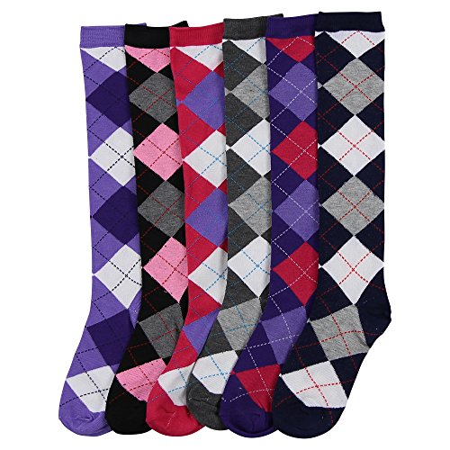 - Women's Color & Fun Knee High Socks 6 Pack (Grey Argyle)