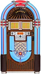 With the Crosley CR1206A-WA, keep the beauty of colorful jukeboxes without sacrificing any technological advances. This Bluetooth-enabled jukebox can connect with modern devices, tune into the radio, or even play CDs. Nostalgia and convenienc...
