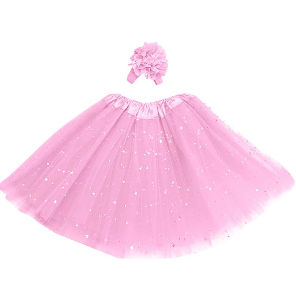FONMA Kids Girl Petticoat Paillette Star Pettiskirt Hair Band Tutu Skirt Dancewear Pink
