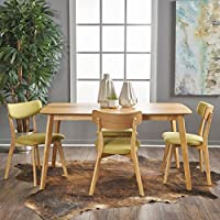 Aman Mid Century Natural Oak Finished 5 Piece Wood Dining Set with Green Tea Fabric Chairs