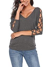 Women V Neck Cut Out Shirts 3/4 Sleeve Cold Shoulder Open Back Blouse Tops
