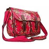 Womens Girls Floral Oilcloth Uni School College Messenger Satchel Shoulder Bag (Black/White/Pink/Purple) (Small/Large)