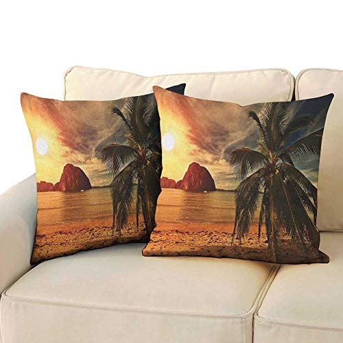 RenteriaDecor Ocean,Bedding Pillowcases Havana Beach Sunny Tropics Mountains Rocks and Coconut Palm Trees 16