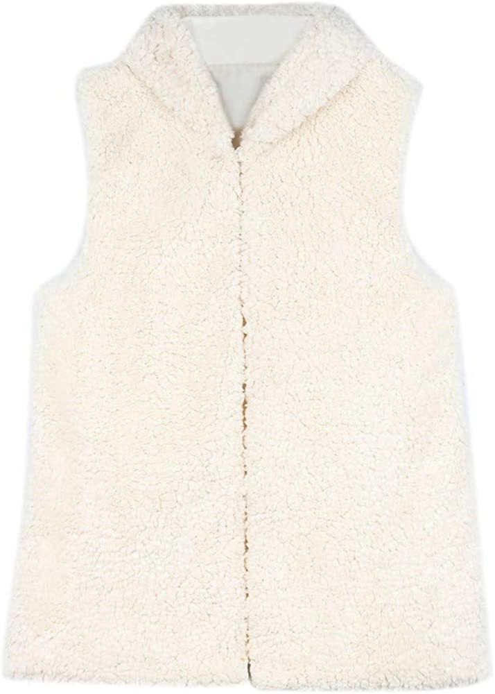 Miuye yuren Womens Faux Shearling Fluffy Warm Winter Vest Coat Loose Sleeveless Outwear Jackets Hooded Waistcoat