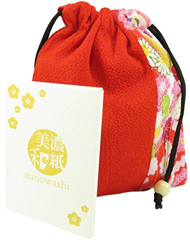 Cute Japanese Drawstring Purse Pouch Bag 6.25 x 5.5 Red with Minowashi Blotting Absorbing Oil Paper 100 Sheets (Bundle of 2)